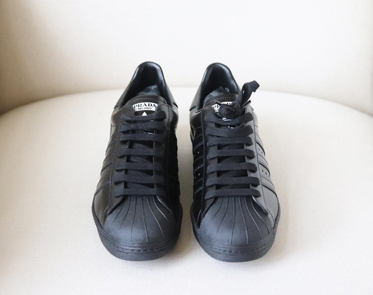 Black Adidas Originals + Prada Superstar Leather Sneakers