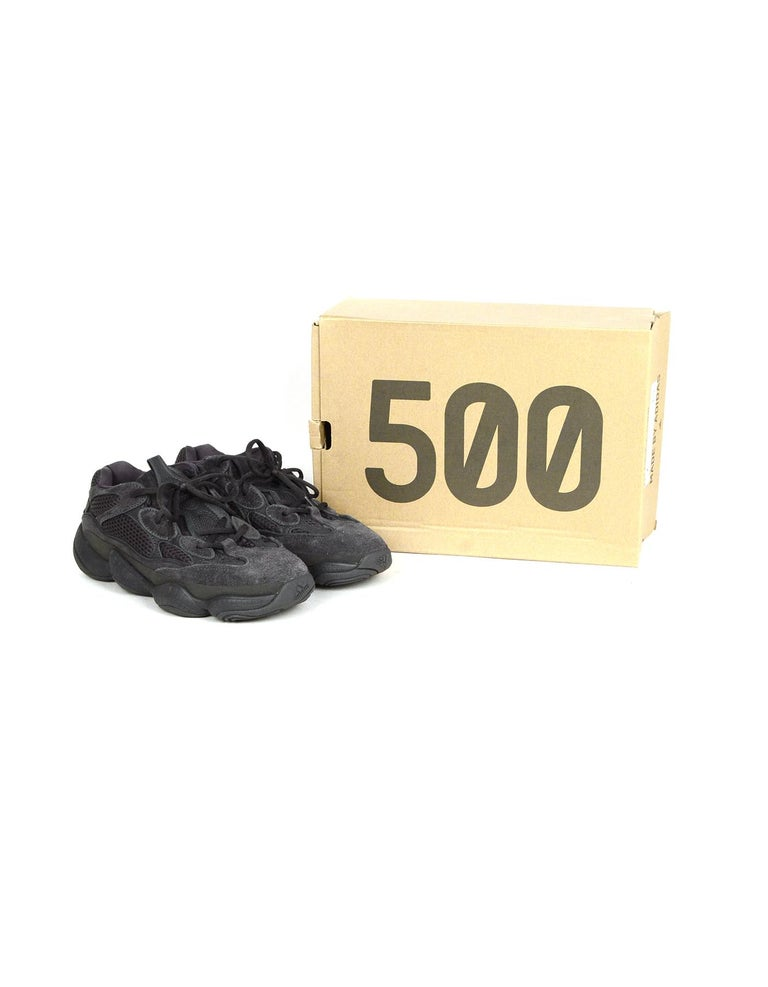 Adidas x Yeezy Unisex 2018 500 Desert Rat Utility Black Sneakers Sz Men's 7, Women's 8.5 In Box  Made In: China Year of Production: 2018 Color: Black Materials: Suede, mesh, leather, rubber Closure/Opening: Lace up Overall Condition: Excellent