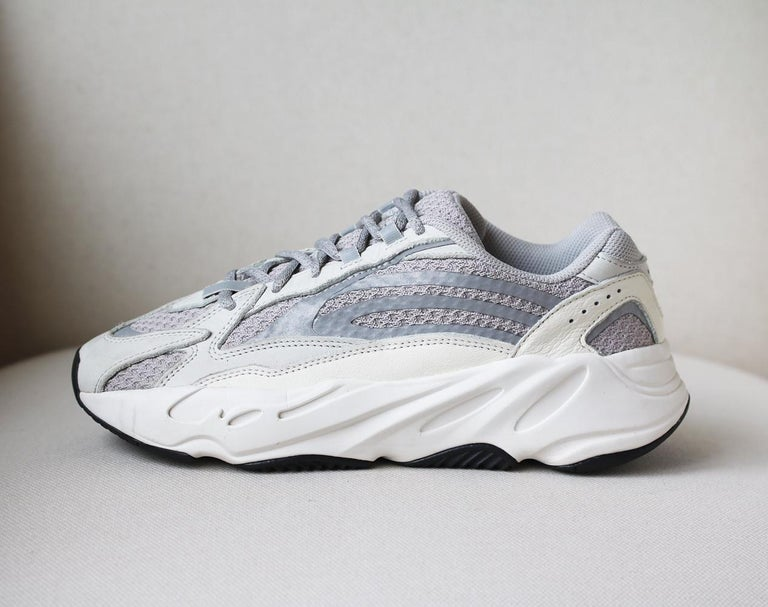 Since adidas Originals' first collaboration with Kanye West back in 2013, each release has garnered huge success - we expect his 'Yeezy Boost 700 V2' sneakers will cause the same kind of frenzy.  This off-white, grey, silver and white pair is made