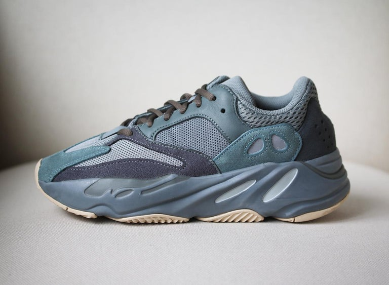 Since adidas Originals' first collaboration with Kanye West back in 2013, each release has garnered huge success - we expect his 'Yeezy Boost 700 V2' sneakers will cause the same kind of frenzy.  This teal blue and grey pair is made from overlapping