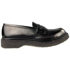ADIEU PARIS Size 10 Black Leather Penny Strap Crepe Sole Loafer