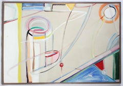 """""""Harbor"""", 1980, Large Colorful Abstract Expressionist Oil on Canvas Painting"""