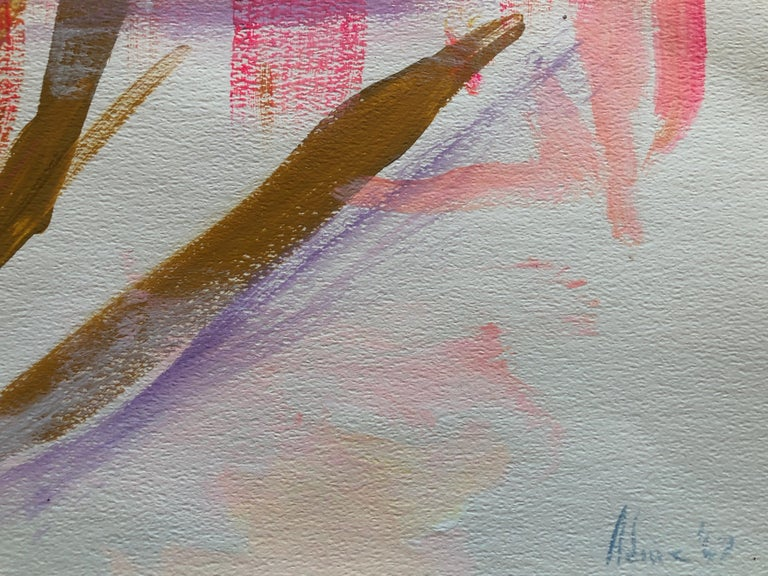 """Gorgeous oil  on paper by abstract expressionist artist Adine Stix. Beautiful hades of pink, with purple, blue, yellow and a touch of brown create a gorgeous abstract landscape. Signed on the lower front right """"Adine '67..""""  Provenance: the artist's"""