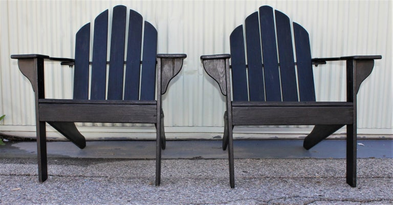 American Adirondack Chairs in Black Paint / Pair For Sale