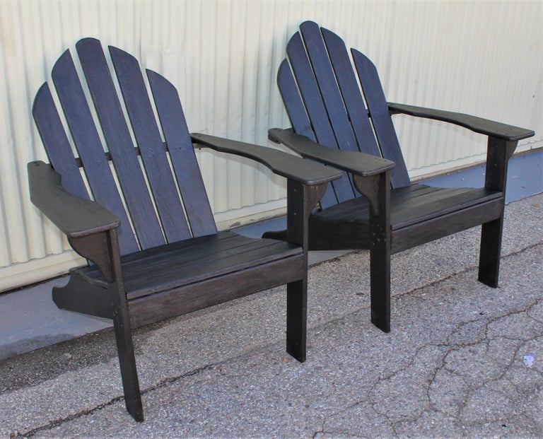 Adirondack Chairs in Black Paint / Pair In Good Condition For Sale In Los Angeles, CA