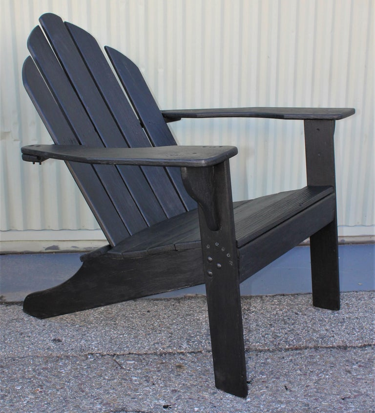 20th Century Adirondack Chairs in Black Paint / Pair For Sale