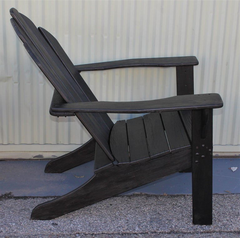 Wood Adirondack Chairs in Black Paint / Pair For Sale