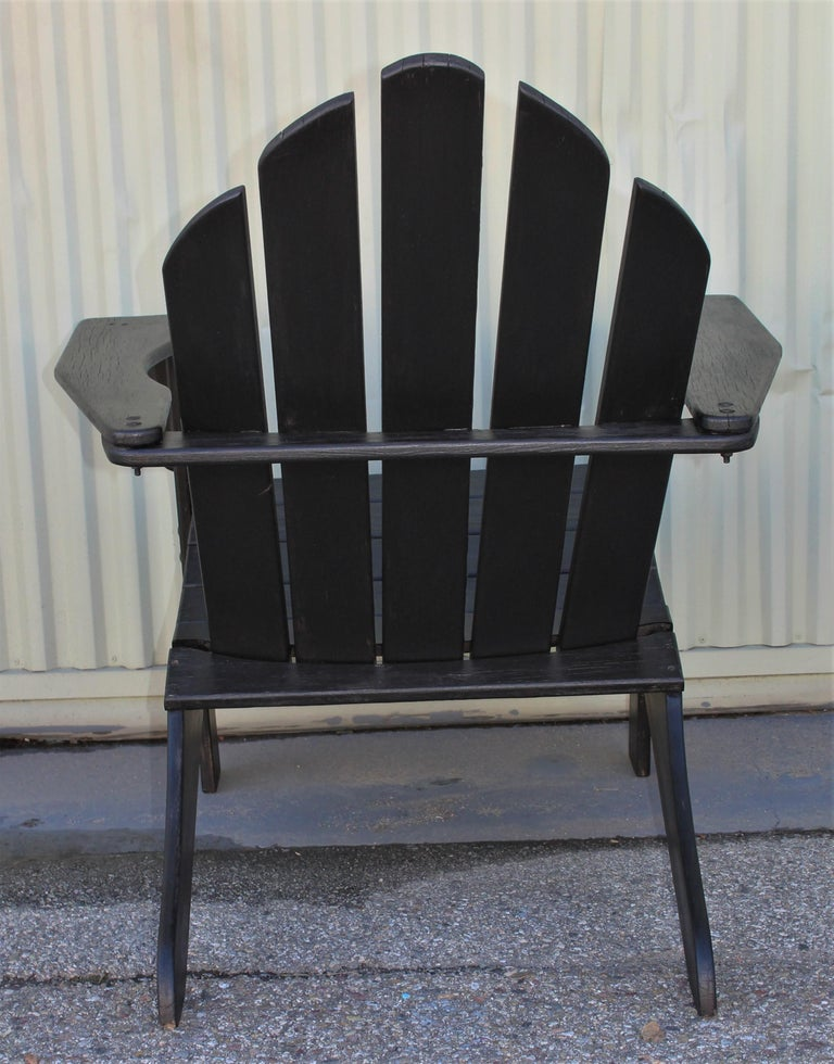 Adirondack Chairs in Black Paint / Pair For Sale 1