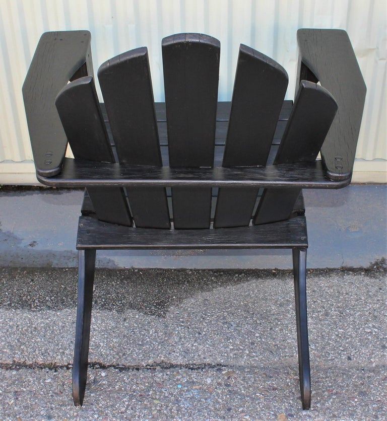 Adirondack Chairs in Black Paint / Pair For Sale 2