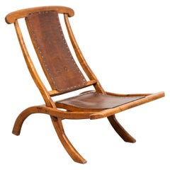 Adirondack Folding Deck Lounge Chair with Leather Seat