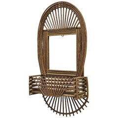 Adirondack Folk Art Large Twig Branch Wall Shelf Planter Pocket Mirror Art Frame