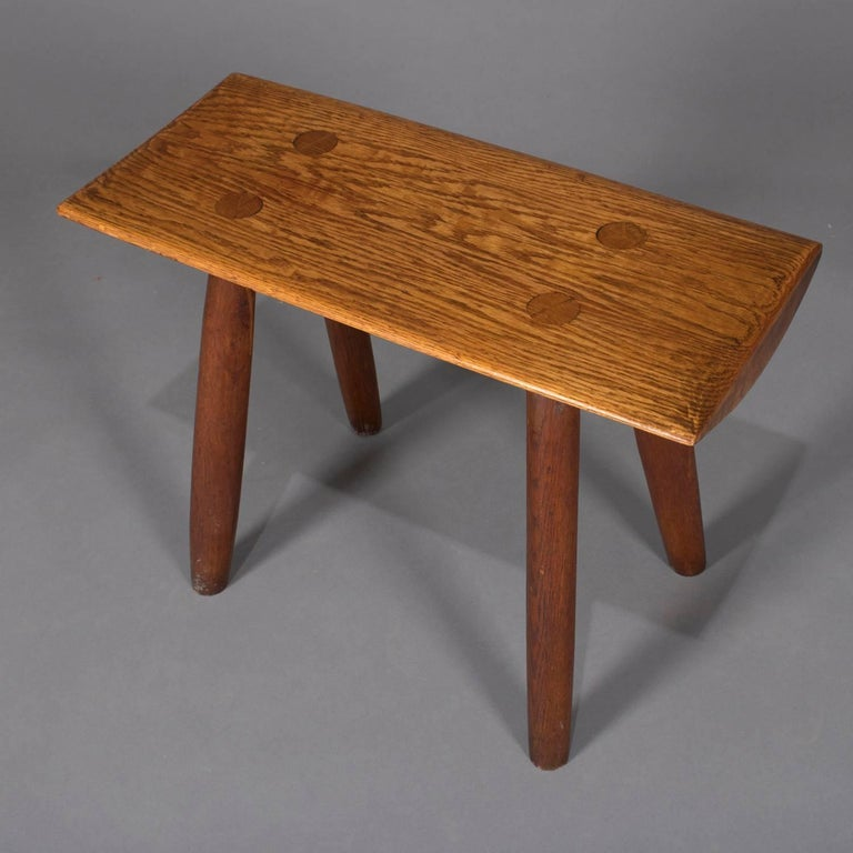 Adirondack Old Hickory School hand-carved bench features slab wood seat with mortise and tenon legs, circa 1940  Measures - 19