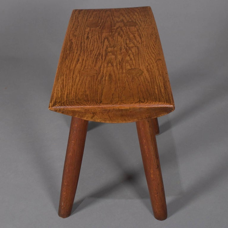 20th Century Adirondack Old Hickory School Hand-Carved Mortice & Tenon Slab Wood Bench For Sale