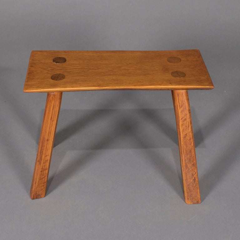 Adirondack Old Hickory School hand-carved bench features slab wood seat with mortise and tenon legs, circa 1940   Measures: 18