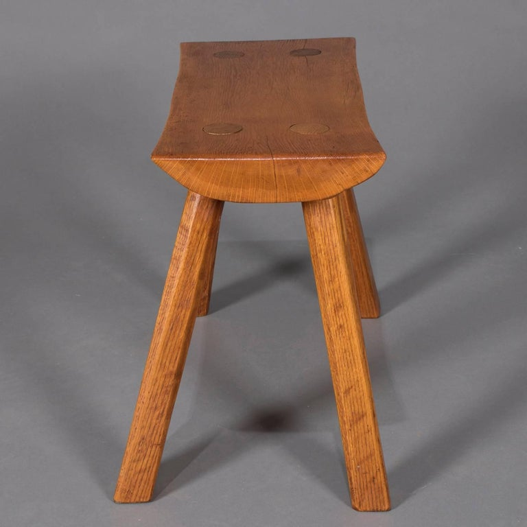 20th Century Adirondack Old Hickory School Hand-Carved Mortise & Tenon Slab Wood Bench For Sale