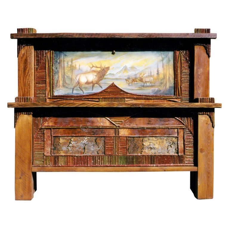 Wood Adirondack Painted Wildlife Scene King Size Bed For Sale