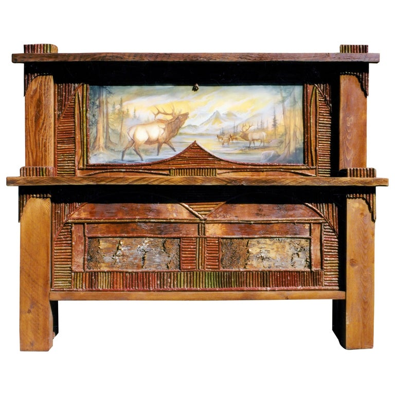 Adirondack Painted Wildlife Scene King Size Bed For Sale