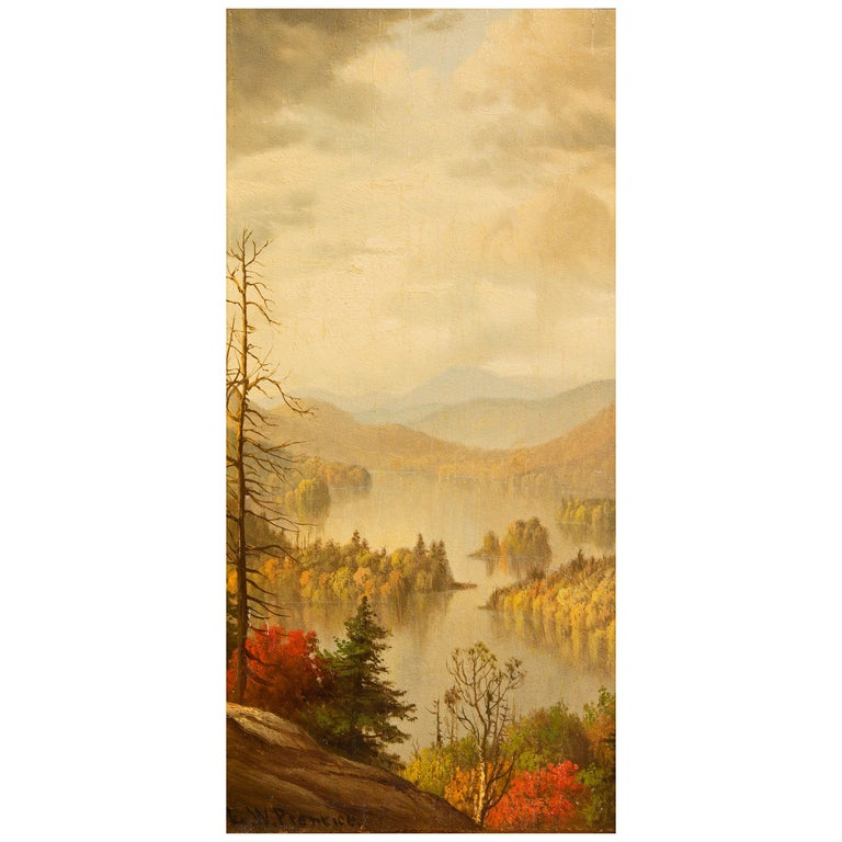 Pair of landscape paintings by Levi Wells Prentice (1851-1935). Views of Whiteface Mountain and Blue Mountain Lake. Oil on panel. One of several art works we are selling from a living estate.