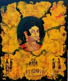 "Indian Woman, Citylife, Acrylic, Tempera on Canvas, Green, Yellow, Red""In Stock"""