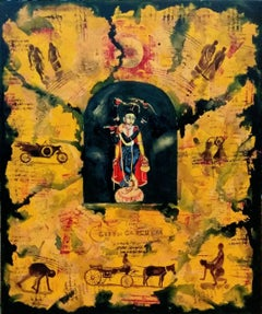 "Krishna, Mythology, Acrylic, Tempera, Green, Yellow by Indian Artist ""In Stock"""