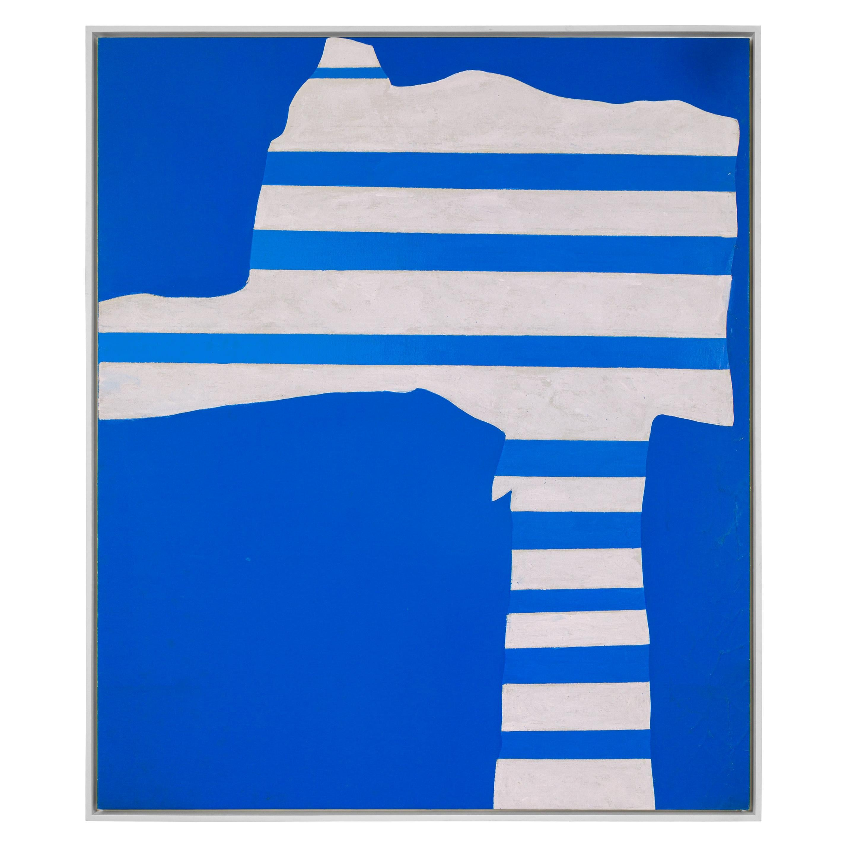 """Adja Yunkers Acrylic on Canvas Painting """"Stripes on Blue"""", USA 1969"""