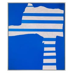 "Adja Yunkers Acrylic on Canvas Painting ""Stripes on Blue"", USA 1969"
