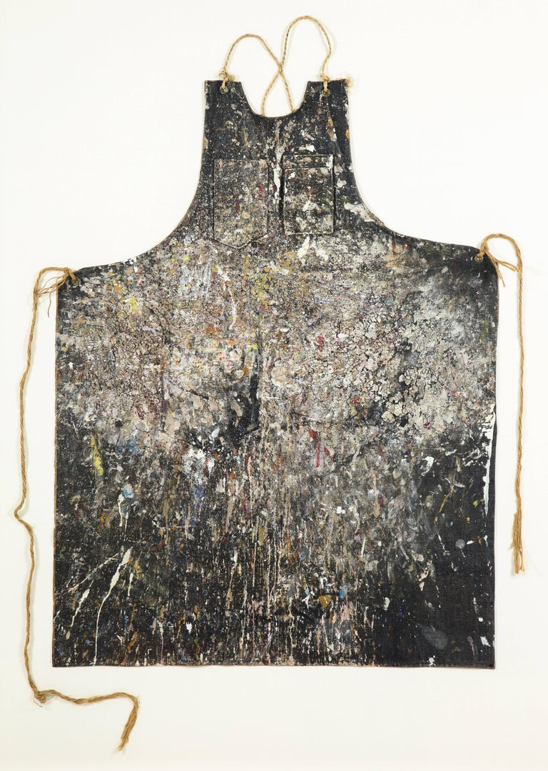 An extraordinary artifact of the renown artist Adja Yunkers (1900–1983). The years of paint has accumulated in a manner that in itself is a work of art. Yunkers was an abstract painter and printmaker. Born in Latvia Yunkers lived and studied