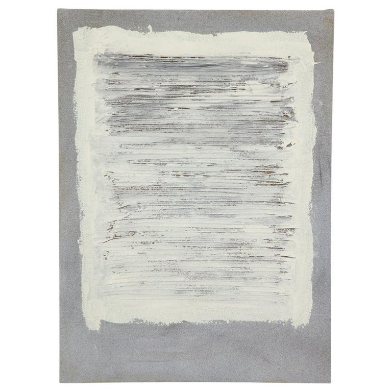 Adja Yunkers Collage Painting, Acrylic and Yarn on Canvas, White and Gray For Sale