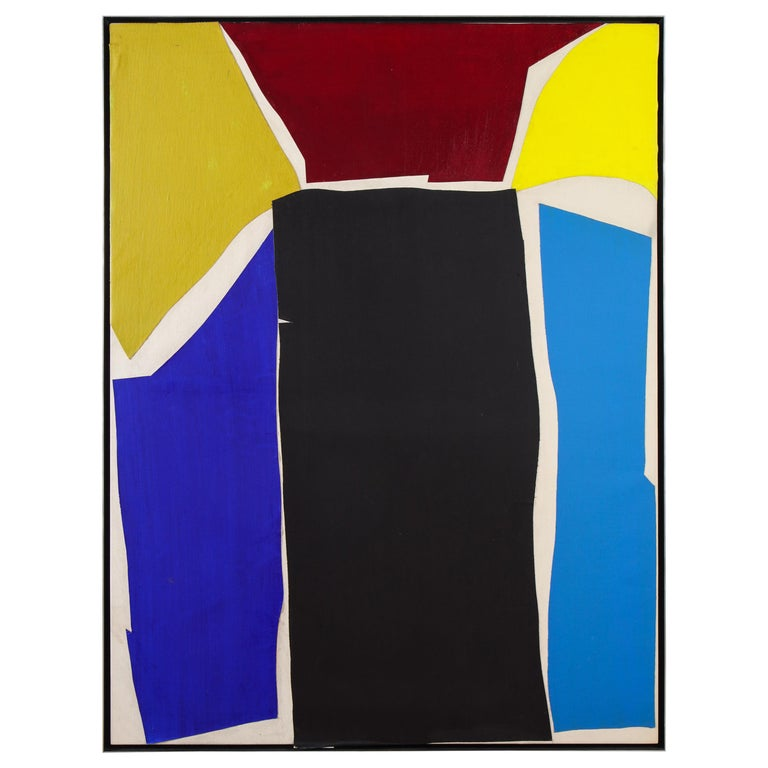 """Adja Yunkers Colorful Collage on Canvas Painting """"Untitled 1"""", USA, 1969 For Sale"""