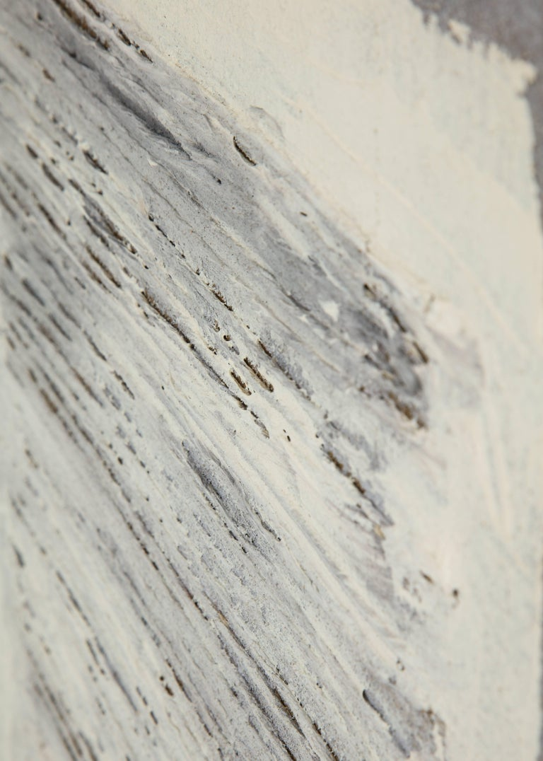 Adja Yunkers Collage Painting, Acrylic and Yarn on Canvas, White and Gray For Sale 2