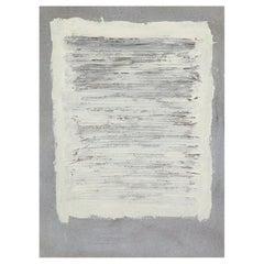 Adja Yunkers Painting Collage, Acrylic and Yarn on Canvas, White and Gray