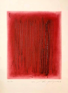 Large Red Intaglio Etching Abstract Latvian American Modernist Artist Embossing