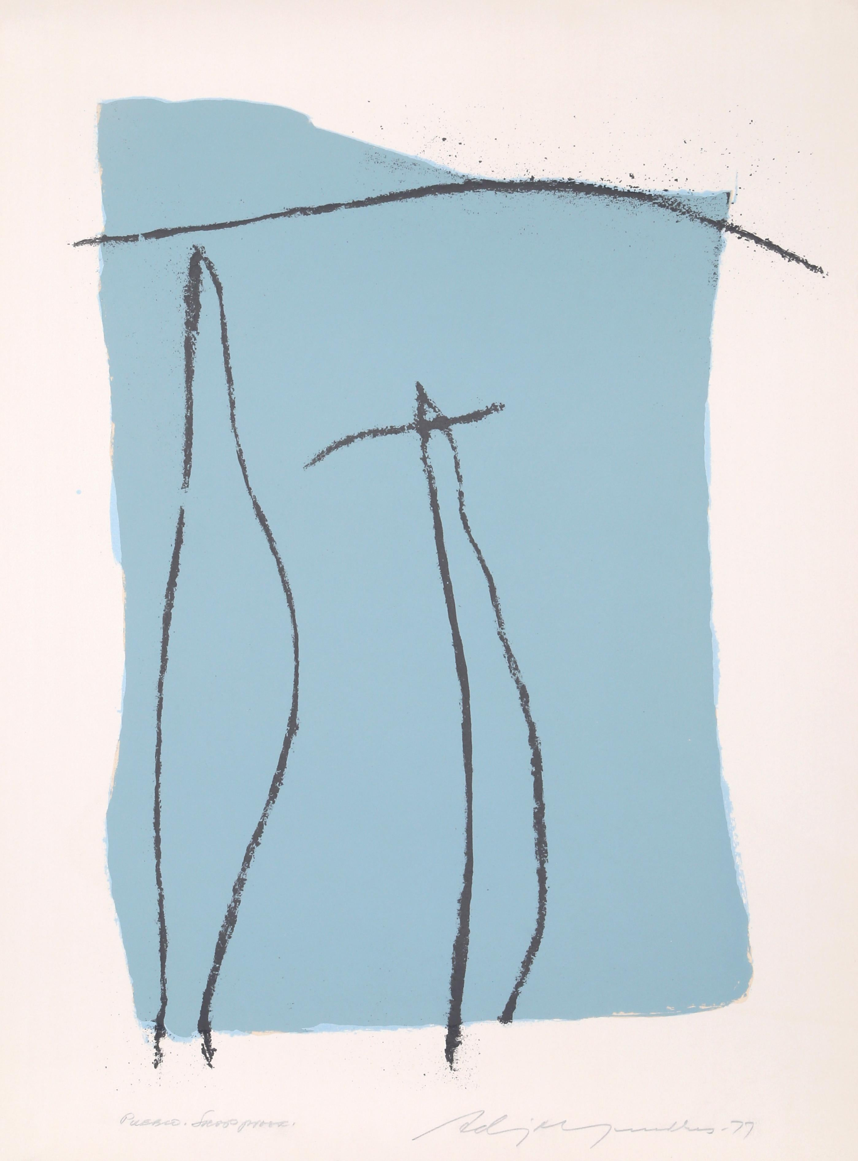 Pueblo, Abstract Expressionist Lithograph by Adja Yunkers 1977