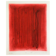 """Adja Yunkers, """"Red Echo"""", Abstract Lithograph, Signed"""