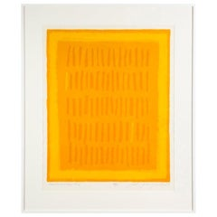 """Adja Yunkers """"Requiem for a Virgin King"""", Abstract Lithograph, Yellow, Signed"""