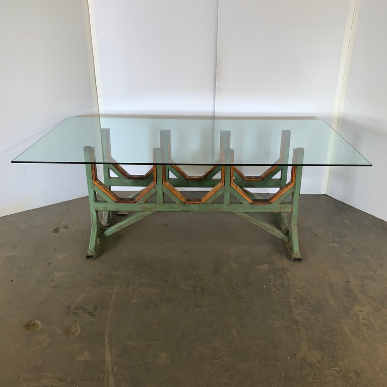 Two Customizable Industrial Metal And Wood Dining Room Table Bases For Sale 4