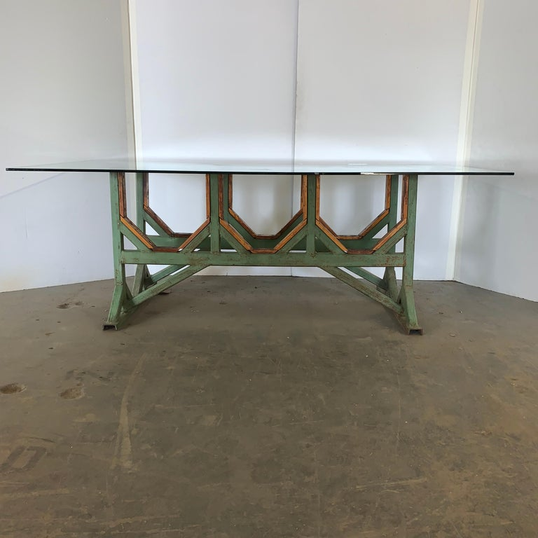 Two Customizable Industrial Metal And Wood Dining Room Table Bases For Sale 5