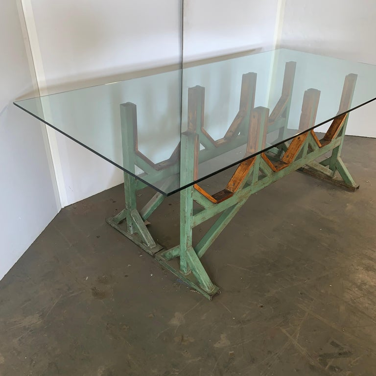Two Customizable Industrial Metal And Wood Dining Room Table Bases For Sale 6