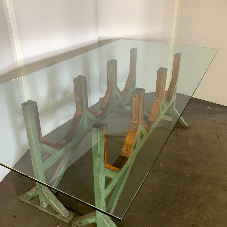 Two Customizable Metal and Wood Dining Room Table Bases For Sale 10