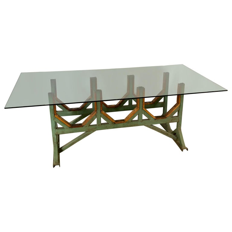 American Two Customizable Industrial Metal And Wood Dining Room Table Bases For Sale