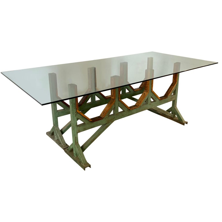 Hand-Crafted Two Customizable Industrial Metal And Wood Dining Room Table Bases For Sale