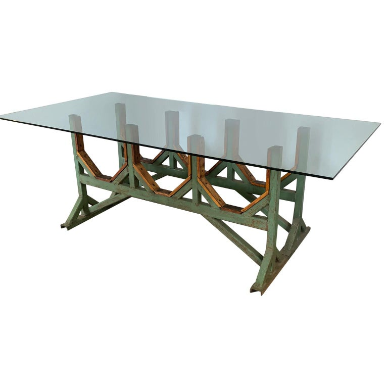 Two Customizable Industrial Metal And Wood Dining Room Table Bases In Good Condition For Sale In Haddonfield, NJ