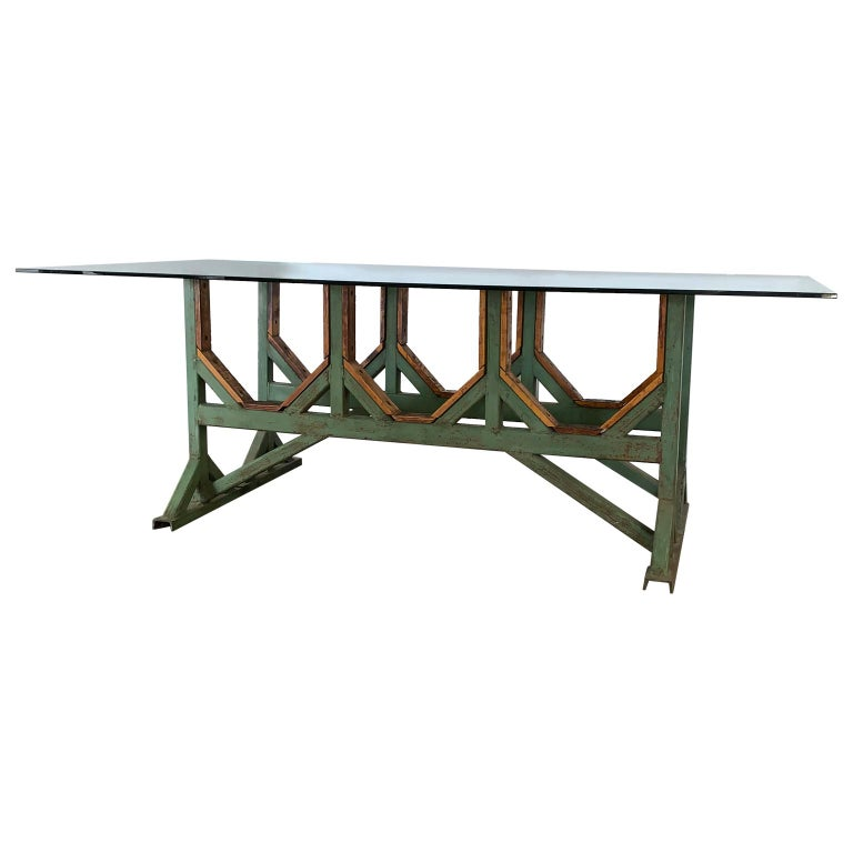 20th Century Two Customizable Industrial Metal And Wood Dining Room Table Bases For Sale