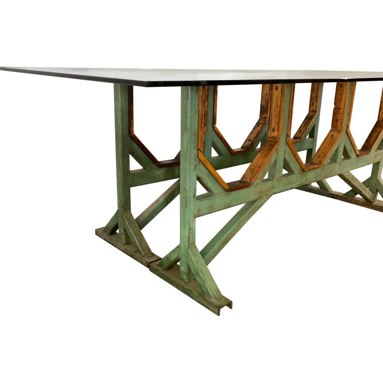 Two Customizable Industrial Metal And Wood Dining Room Table Bases For Sale 1