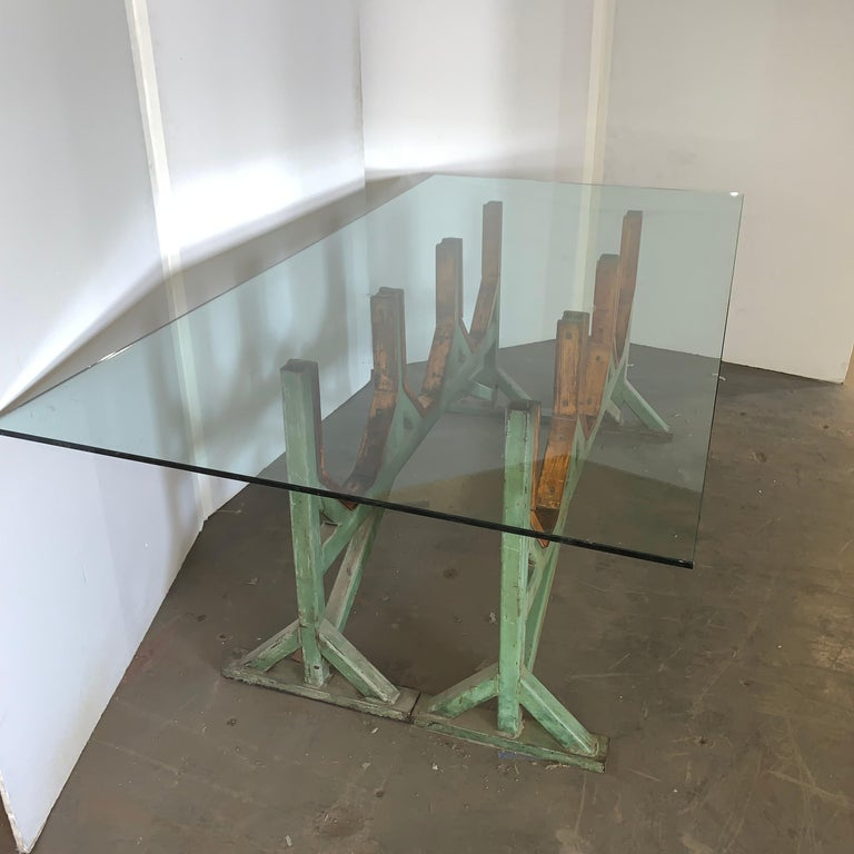 Two Customizable Industrial Metal And Wood Dining Room Table Bases For Sale 3