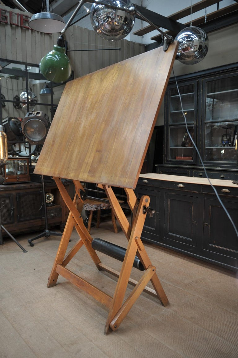 Adjustable Architect's Drafting Table or Writing Desk, with Lamp, circa 1920s 3