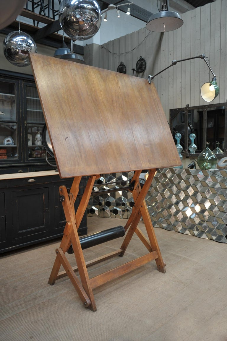 Adjustable Architect's Drafting Table or Writing Desk, with Lamp, circa 1920s 4