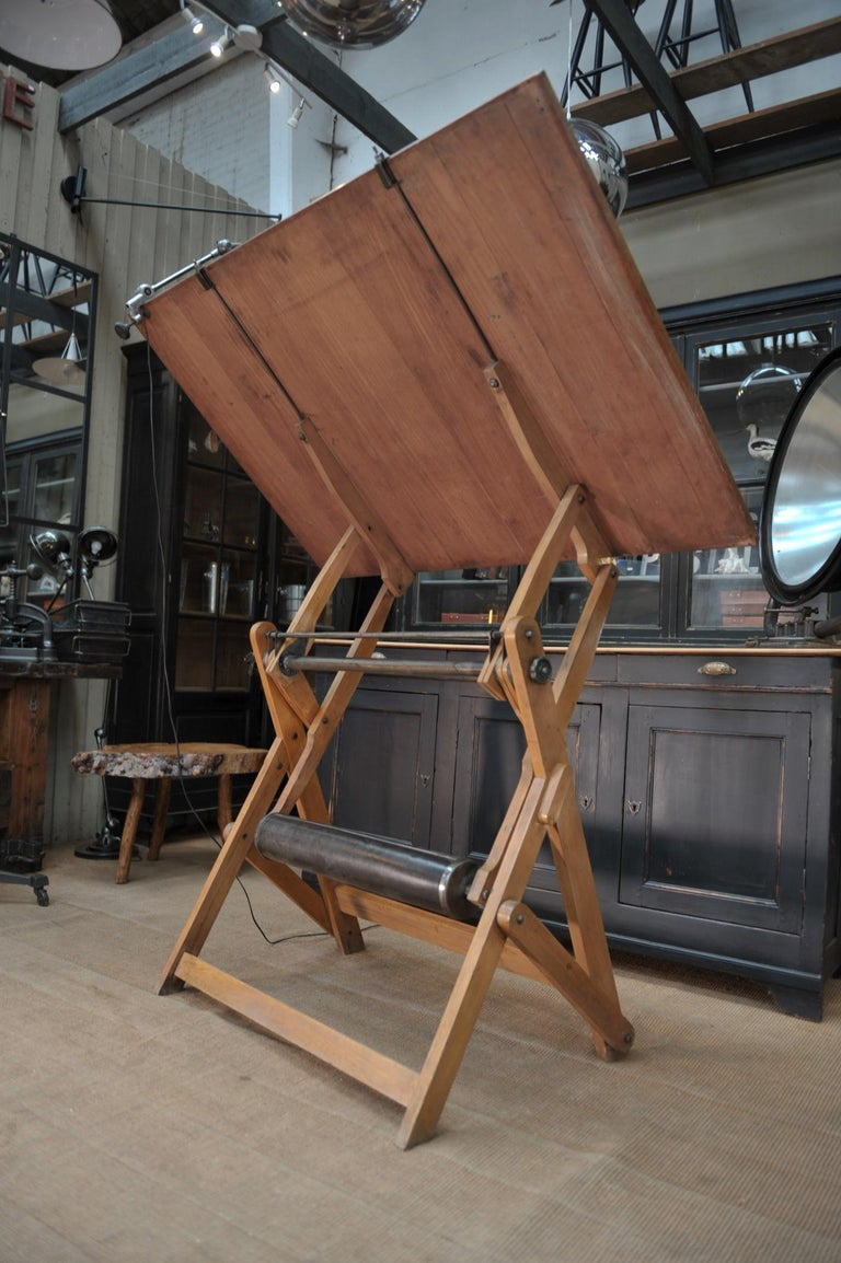 Adjustable Architect's Drafting Table or Writing Desk, with Lamp, circa 1920s 5