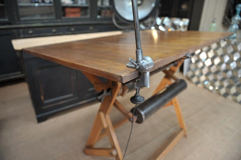 Adjustable Architect's Drafting Table or Writing Desk, with Lamp, circa 1920s 6