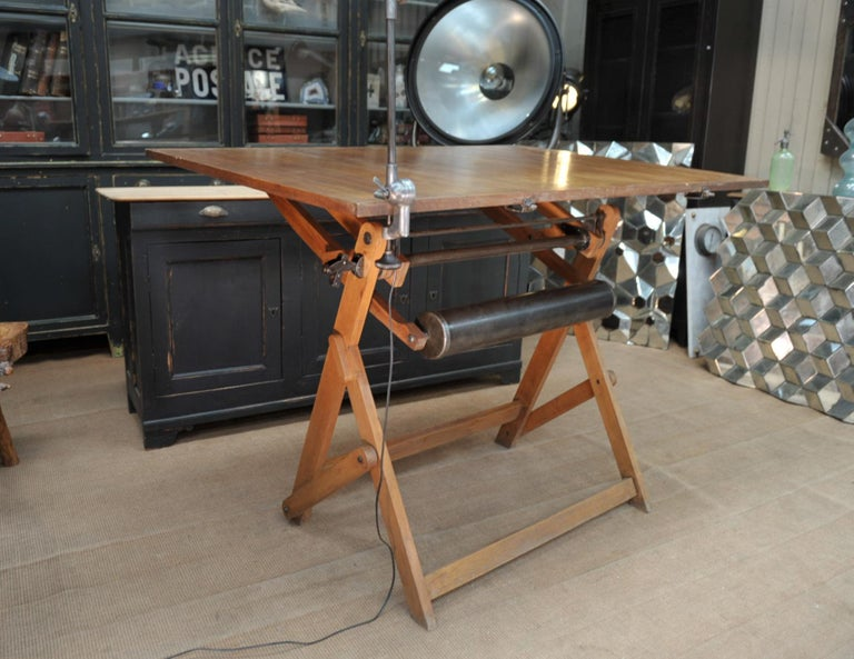 Adjustable Architect's Drafting Table or Writing Desk, with Lamp, circa 1920s 7